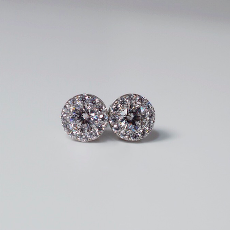 Sterling Silver and Cubic Zircona Stud Earrings