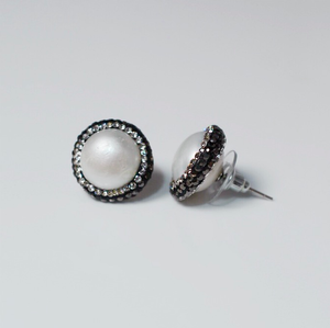 Sterling Silver Crystal and Freshwater Pearl Stud Earrings