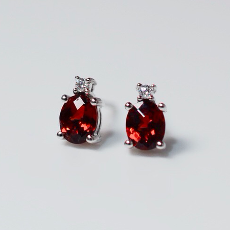 White Gold Garnet and Diamond Stud Earrings