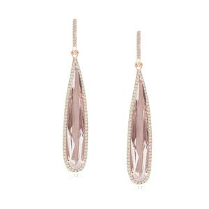 Elongated Pear White Topaz and Diamond Earrings SOLD