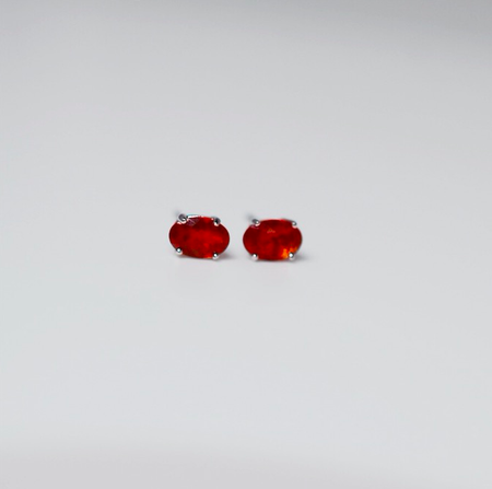 White Gold Mexican Fire Opal Stud Earrings