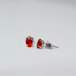 White Gold Mexican Fire Opal Stud Earrings