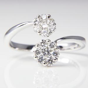 White Gold Diamond Bypass Ring