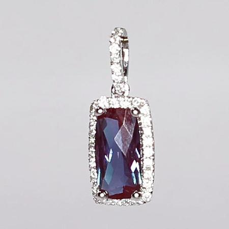 White Gold Synthetic Alexandrite Pendant