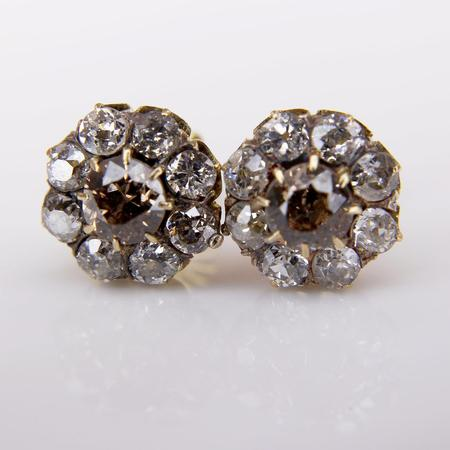 White Gold Yellow and White Diamond Cluster Earrings