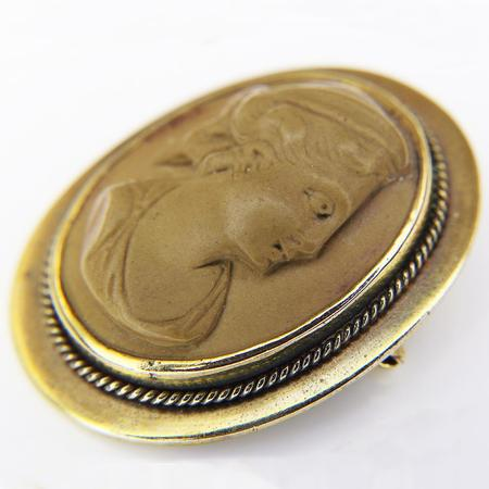 Victorian Goldfilled and Lava Cameo Brooch