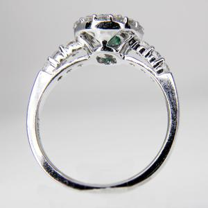 White Gold Emerald and Diamond Halo Ring  SOLD