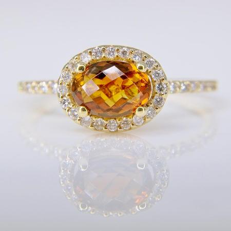Yellow Gold Citrine and Diamond Halo Ring