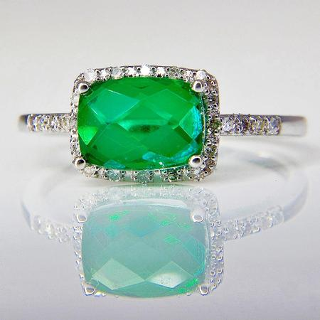 White Gold Green Quartz and Diamond Ring  SOLD