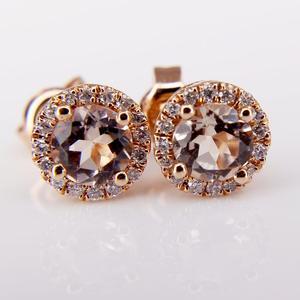 Rose Gold Morganite and Diamond Earrings