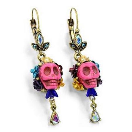 Skull and Crystal Teardrop Earrings -Pink
