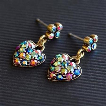 Multi Aurora Crystal Heart Earrings