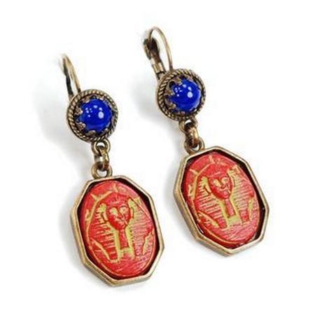 Egyptian Pharaoh Vintage Czech Glass Earrings- Red