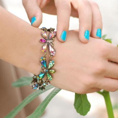Rainbow Fireflies Link Bracelet
