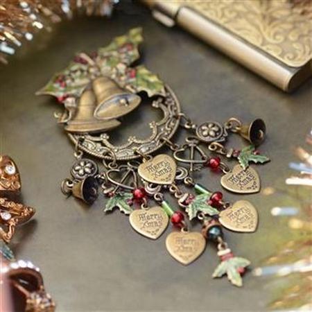Holly Bells Pin