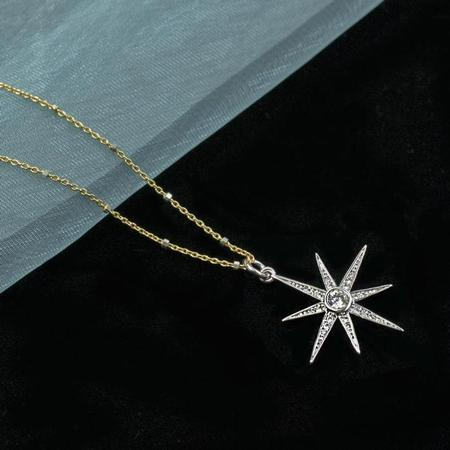 Silver North Star Pendant Necklace