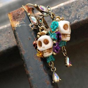 Skull and Crystal Teardrop Earrings- White