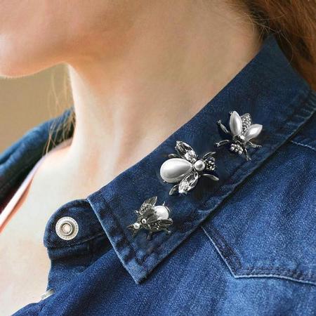 Pearly Girl Bee Pin- Silver