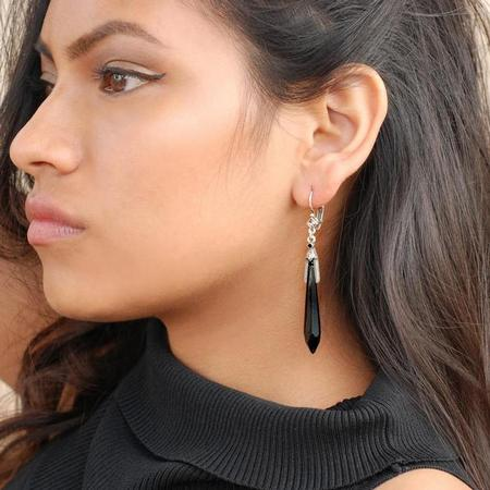 Vintage Black Jet Prism Crystal Drop Earrings
