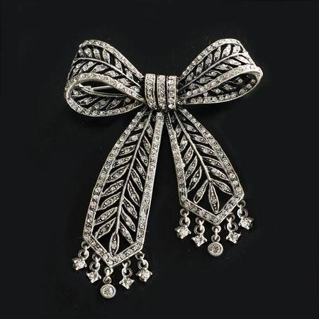 Crystal Bow Brooch Pin