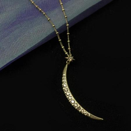 Half Moon Pendant Necklace- Gold