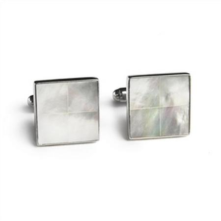 Sterling Silver Mother of Pearl Square Tile Inlay Cufflinks