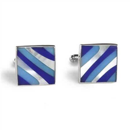 Sterling Silver Blue Swirl Inlay Square Cufflinks