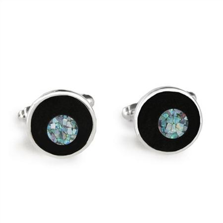 Sterling Silver Opal Dot Round Cufflinks