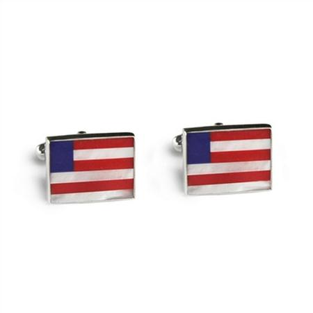 Sterling Silver Rectangle Flag Inlay Cufflinks