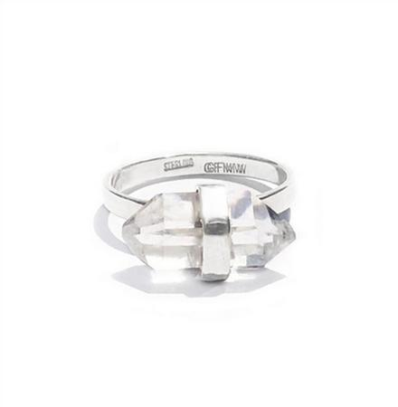 Sterling Silver Herkimer Candy Ring (Size 6)