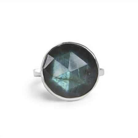 Sterling Silver Labradorite Faceted Bubble Ring