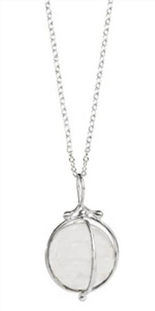 Sterling Silver Quartz Sphere Necklace 18