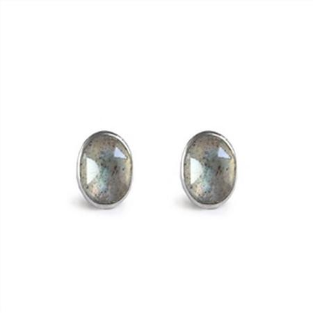 Sterling Silver Tiny Cabochon Earrings + More Colors