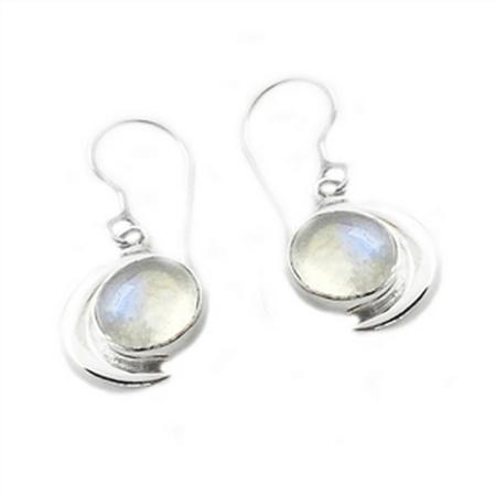 Sterling Silver Rainbow Moonstone Moon Earrings