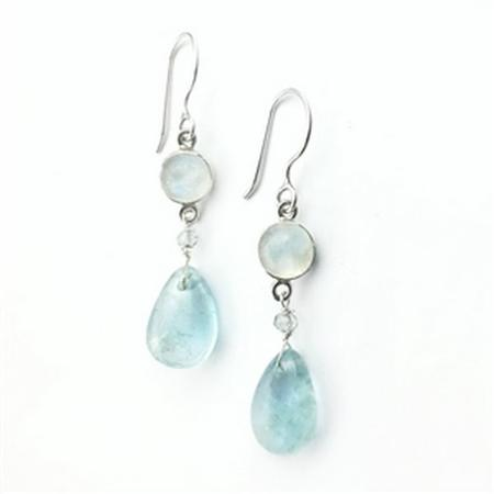 Sterling Silver Rainbow Moonstone & Aquamarine Moon Earrings