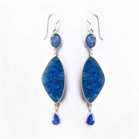 Sterling Silver Joan Blue Lapis and Opal Earrings