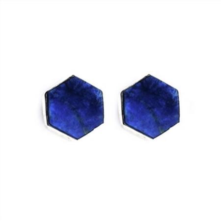 Hexagonal Lapis Lazuli Stud Earrings  SOLD