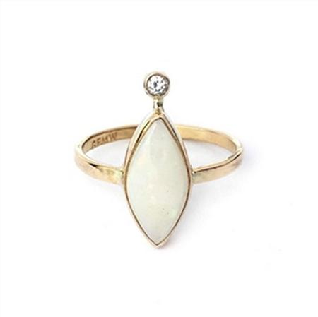 Gold Filled Opal and Diamond Ring