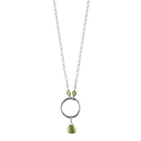 Sterling Silver Peridot Petite Precious Circle Necklace