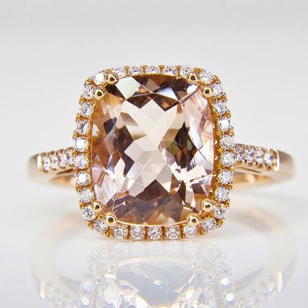 Rose Gold Morganite and Diamond Halo Ring SOLD