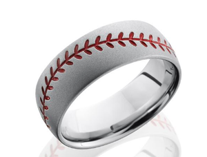 Cobalt Chrome Wedding Band CC8DBASEBALL