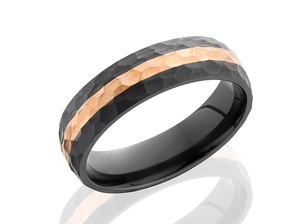 Zirconium and 14k Rose Gold Wedding Band Z6D12/14KR