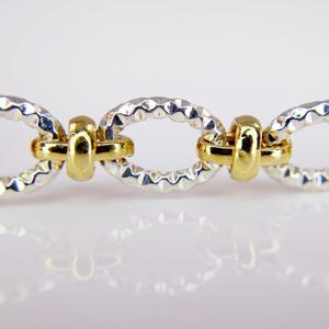Sterling Silver and Yellow Gold Vermeil Link Bracelet