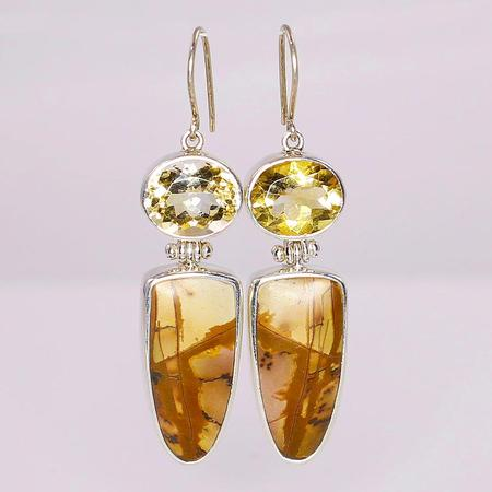 Sterling Silver Cherry Creek Jasper and Citrine Earrings