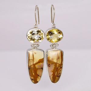 Sterling Silver Cherry Creek Jasper and Citrine Earrings