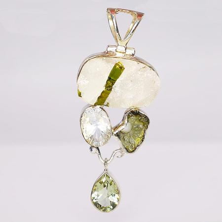 Sterling Silver Multi-gemstone Slide Pendant
