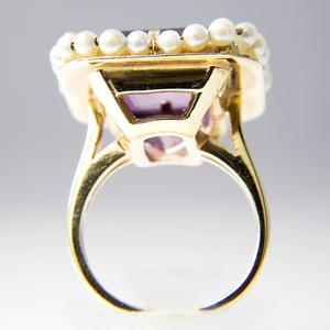 Vintage Yellow Gold Amethyst and Pearl Cocktail Ring
