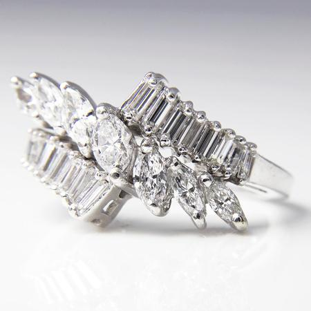 Platinum and Diamond Waterfall Ring