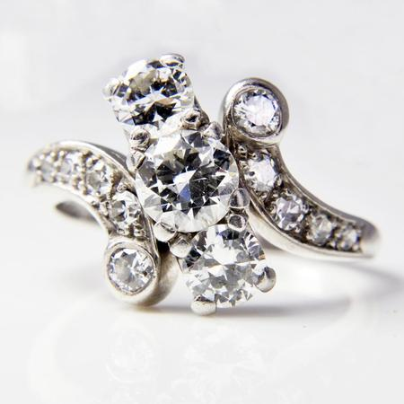 18K Antique White Gold and Palladium Diamond Ring