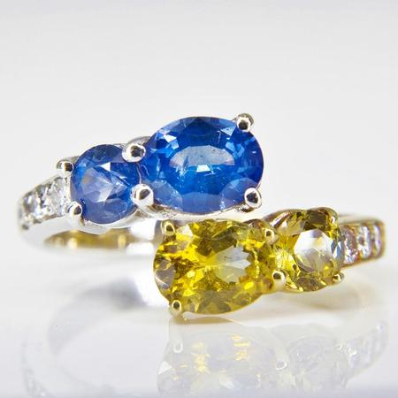 Vintage-Inspired Sapphire and Diamond Bypass Ring